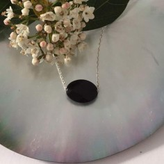 Oval faceted onyx stone chain necklace 925