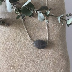 Oval faceted labradorite stone chain necklace 925
