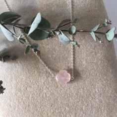 Small faceted pink quartz cross chain necklace silver 925