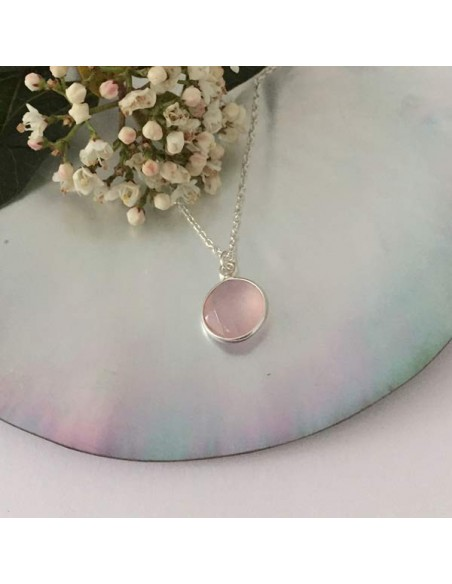 Faceted pink quartz stone chain necklace silver 925