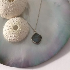 Diamond faceted labradorite stone chain necklace 925
