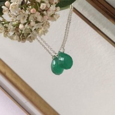 Faceted green onyx drop chain necklace silver 925