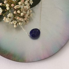 Oval faceted lapis lazuli stone chain necklace 925