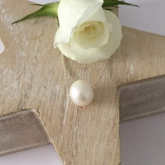 White baroque freshwater pearl chain necklace silver 925