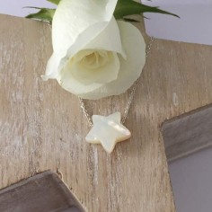 Medium white mother of pearl star chain necklace silver 925