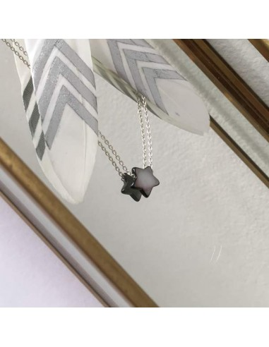 Small grey mother of pearl star chain necklace silver 925