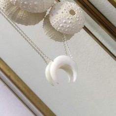 White mother of pearl horn chain necklace silver 925