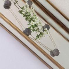 Five labradorite stones chain necklace silver 925