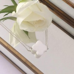 Flat white agate cross chain necklace silver 925