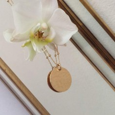 Hammered medal gold plated small beads chain necklace