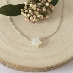 Small white mother of pearl star chain necklace silver 925