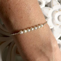 Bracelet chaine argent Barrette perles d'eau douce blanches