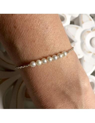 Chain bracelet silver 925 white freshwater pearls bar