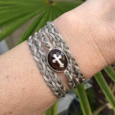 Five rows braided cord bracelet smoky quartz with silver 925 cross