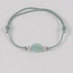 Bracelet petite pierre ovale Amazonite  perles argent