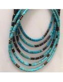 Heishi black and turquoise stones necklace 1