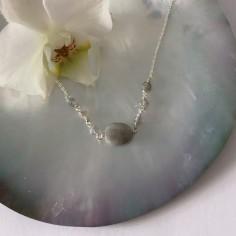Collier chaine argent petite Labradorite ovale facettée