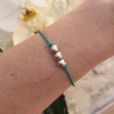Bracelet cordon 3 Perles argent lisses