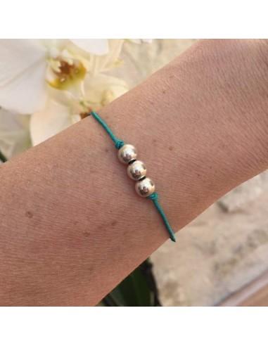 Cord bracelet silver 925 three beads