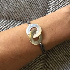 Cord bracelet silver 925 big handcuffs