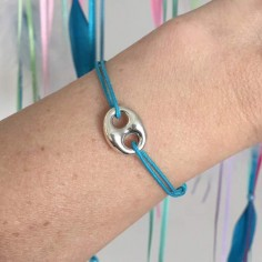 Cord bracelet silver 925 coffee bean