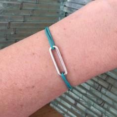 Bracelet cordon petit Maillon argent
