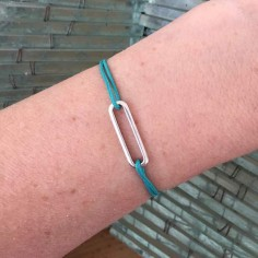 Cord bracelet silver 925 small link