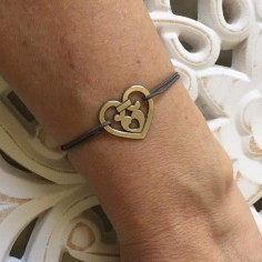 Cord bracelet silver 925 baroque heart