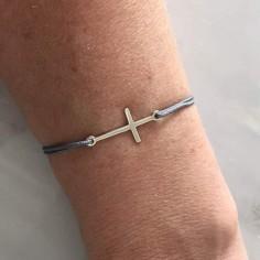 Bracelet cordon petite Croix argent