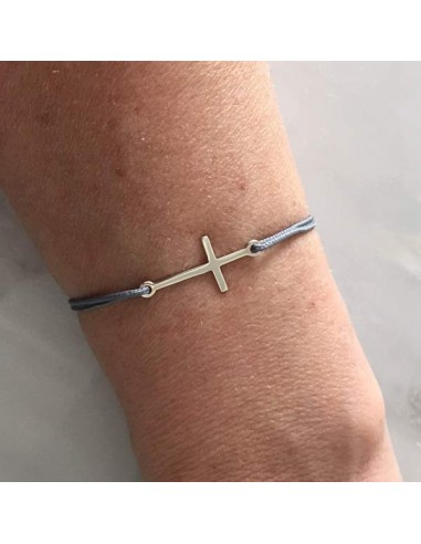 Cord bracelet silver 925 small cross
