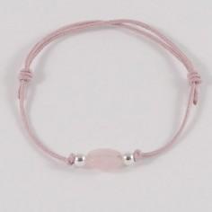 Bracelet enfant Quartz Rose ovale perles argent