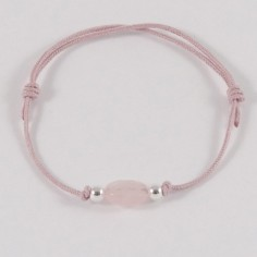 Child small oval pink quartz silver beads cord bracelet