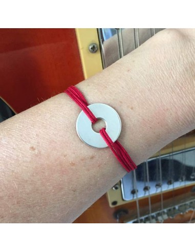 Man silver 925 target cord bracelet