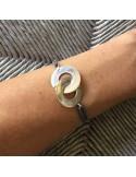 Man silver 925 big handcuffs cord bracelet