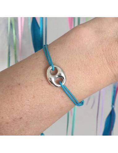 Man silver 925 coffee bean cord bracelet