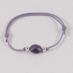 Bracelet petite pierre ovale Améthyste perles argent