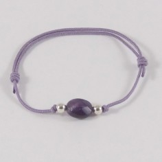 Child small oval amethyst silver beads cord bracelet