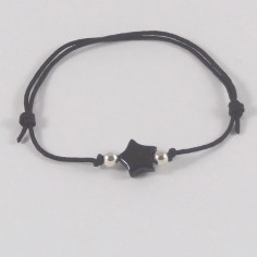 Child onyx star silver beads cord bracelet