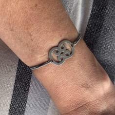 Cord bracelet silver 925 double C