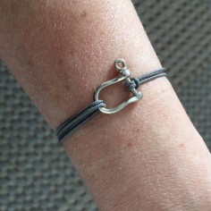 Cord bracelet silver 925 medium shackle