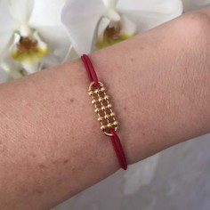 Cord bracelet gold plated small beads bar