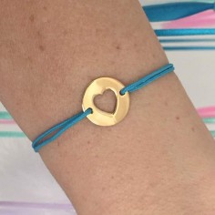 Cord bracelet gold plated open heart medal
