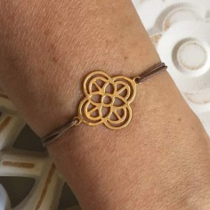 Cord bracelet gold plated cross shape flower