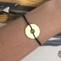 Man gold plated target cord bracelet
