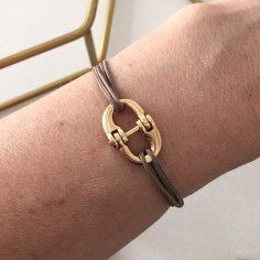 Man gold plated double shackle cord bracelet