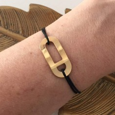 Man gold plated eight shape oval cord bracelet