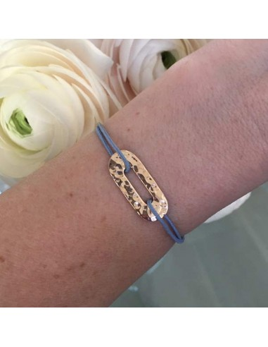 Man gold plated hammered oval cord bracelet