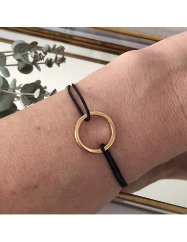 Man gold plated square section ring cord bracelet