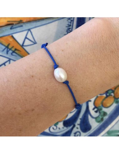 Cord bracelet white freshwater pearl