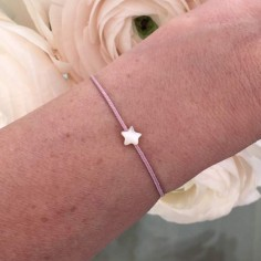 Cord bracelet small white mother of pearl star silver